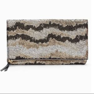 New Stella & Dot Metallic Knit Clutch